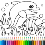 Dolphin and fish coloring book  APK MOD (Unlimited Money) 15.9.6